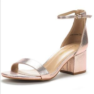 Dream Pairs Low Chunk Heels Champagne Pearl